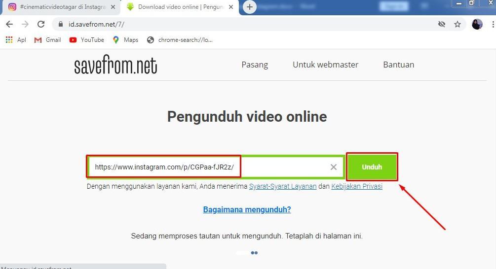 Paste Link Pada Web Savefrom